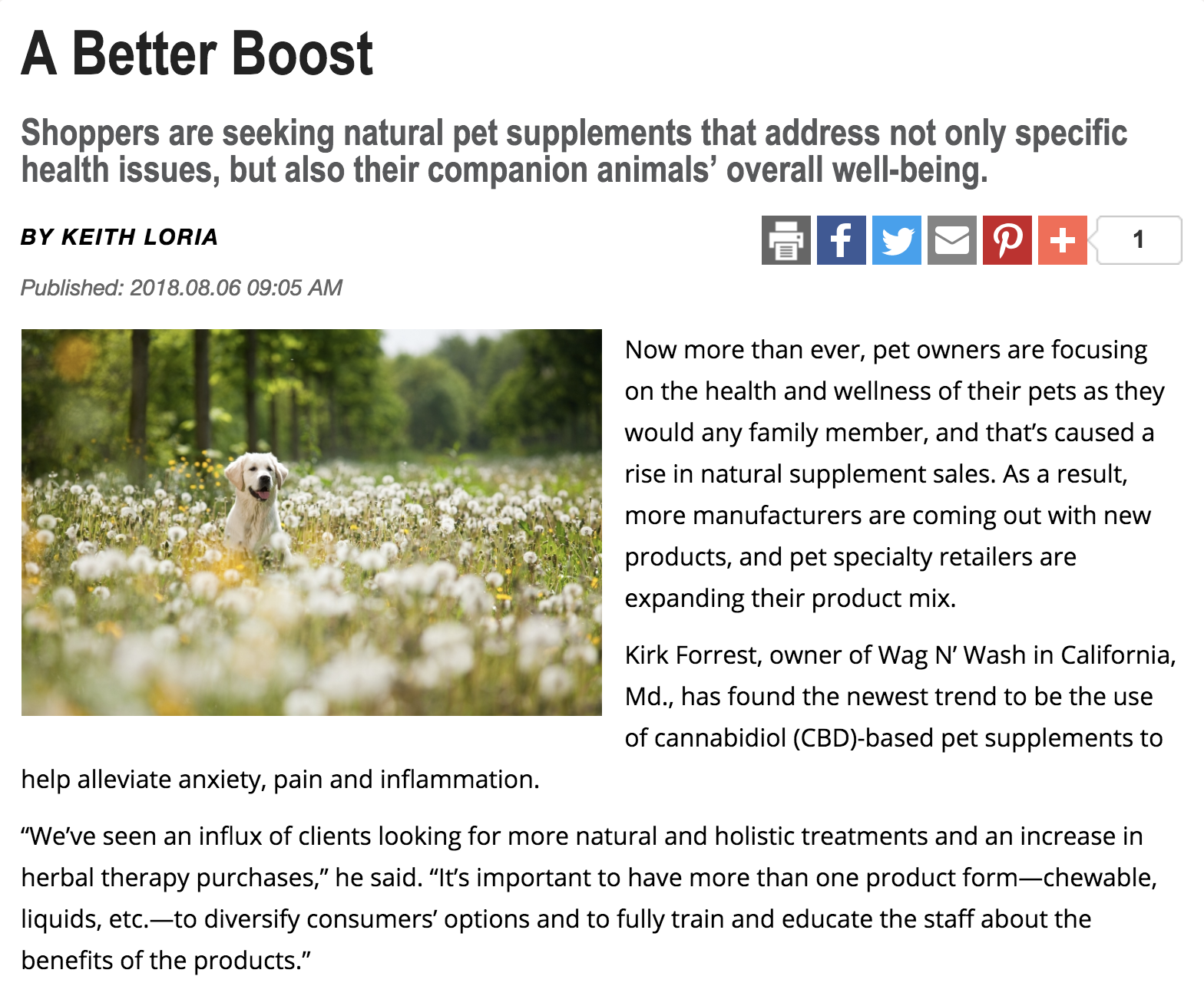 Pet Product News Quotes California, MD Local Owner on Supplements Trends